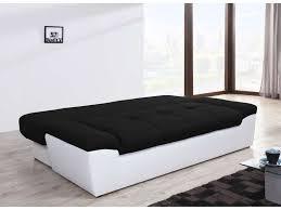 canapé convertible noir et blanc canapé convertible 3 places en tissu uno coloris blanc noir