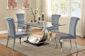 carone stainless steel dining room set from coaster coleman