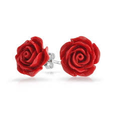 flower stud earrings silver plated flower stud earrings 10mm
