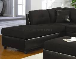 Black Leather Sofa With Chaise Living Room Elegant Microsuede Sectional For Comfortable Living