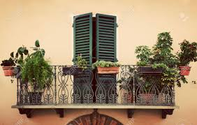 retro romantic balcony with plants and flowers in pots window