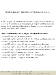 project coordinator resume top 8 it project coordinator resume sles 1 638 jpg cb 1428369120