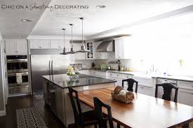 Kitchen Island And Dining Table Chic On A Shoestring Decorating Client Kitchen Remodel Reveal
