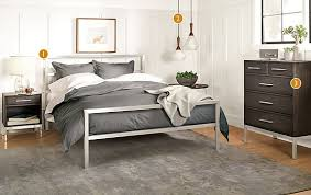 Room And Board Bed Frame Portica Bed With Alden Collection In Charcoal Modern Bedroom