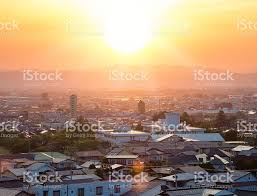 bright sunset over inland japanese town stock photo 608515682 istock