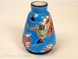 Enamel Vase Earthenware Enamel Vase Of Flowers 20th Longwy France