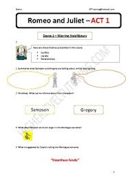 romeo and juliet questions worksheet act 1 scene 1 by kathrine pusey