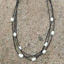 choker necklace pearl images Layered leather pearl choker necklace jpg