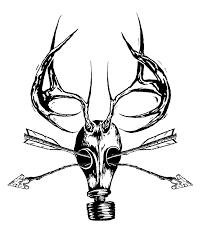 drawn mask deer skull pencil and in color drawn mask deer skull