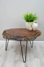 wood slice end table live edge wood slice coffee table on hairpin legs diy pinterest