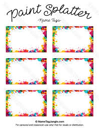 printable name tags free printable paint splatter name tags the template can also be