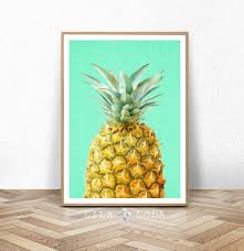 Pineapple Decorations For Kitchen by Pineapple Print Fruit Wall Art Kitchen Decor Tropical