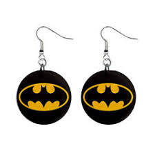 batman earrings batman shield dangle button earrings