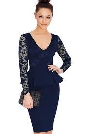 peplum dress unomatch women peplum sleeves neck fit dress navy