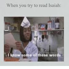 I Know Some Of These Words Meme - when you try to read isaiah i know some of these words word meme