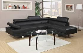 Black Sofa Sectional Poundex Bobkona Atlantic Faux Leather 2