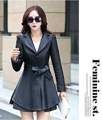in the spring and autumn 2016 ladies leather coat of cultivate