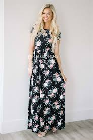 floral maxi bridesmaid dress black pink floral maxi modest dress best and affordable