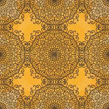 Pattern Ottoman Ornamental Seamless Pattern On Yellow Texture Endless Vector
