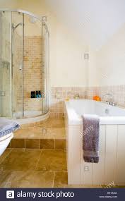 Bathroom With Corner Shower Corner Shower With Glass Doors In Split Level Modern Bathroom With