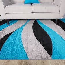 contemporary teal blue u0026 black wave living room rug rio kukoon