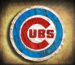 chicago cubs handmade distressed wood sign vintage art