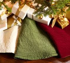 channel quilted velvet tree skirt pottery barn