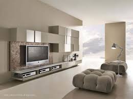 living room movie theater ottomans among white grey wall color