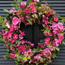 pink floral door wreath pink flower wreath spring summer