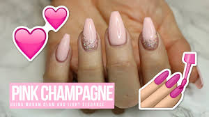 Light Pink Acrylic Nails Acrylic Gel Nail Design Tutorial How To Pink Champagne Youtube