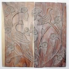 bird wall decor wood panel grey walnut finish thai decor