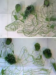 this wall art is made from steel and plants contemporist sculptor frank plant has created a large steel and plant based drawing for the wall of