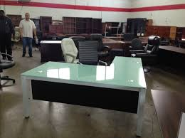 L Shaped White Desk by Chiarezza Glass L Desk 72