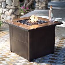 Patio Propane Fire Pit Red Ember Desert Sand 32 In Square Propane Fire Pit Table
