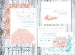 wedding invites beach coral and shell beach wedding invitations