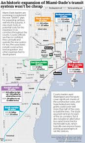Map Of South Beach Miami by Running Miami Dade U0027s Dream Rail System Could Cost 1 Million A Day