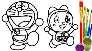 how to draw doraemon u0026 dorami coloring pages kids drawing for