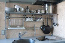 compact stainless steel kitchen wall shelves with chromed metal