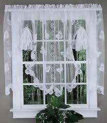 White Lace Valance Curtains Butterflies Lace Fan Swag White Sku Kitchen Valances