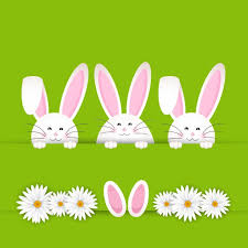 easter pictures easter bunny background with daisies vector free