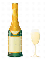 champagne bottle outline bottle of champagne and wineglass vector clipart image 19225