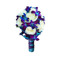 blue orchids blue orchid and white roses bouquet gift