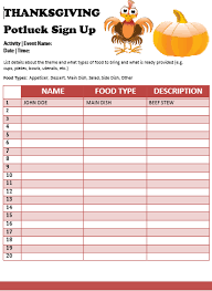 29 images of thanksgiving potluck sign up sheet template leseriail