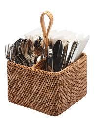 decor wicker silverware caddy and kitchen utensils ideas with
