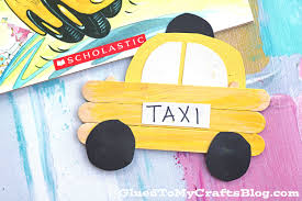 popsicle stick taxi kid craft glued to my crafts