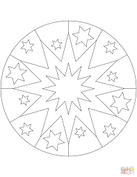 easy mandala with stars coloring page free printable coloring pages