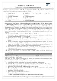 Sample Resume For Sap Mm Consultant by Sap Sd Resume 1 Year Experience Contegri Com