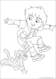diego and baby jaguar coloring page for birthday cake for guns
