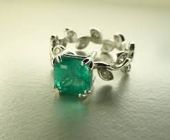 Non Traditional Wedding Rings by Emerald Leaf Ring Emerald Engagement Ring Emerald Cut