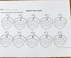 ten frame activities with squirrel and acorn frames